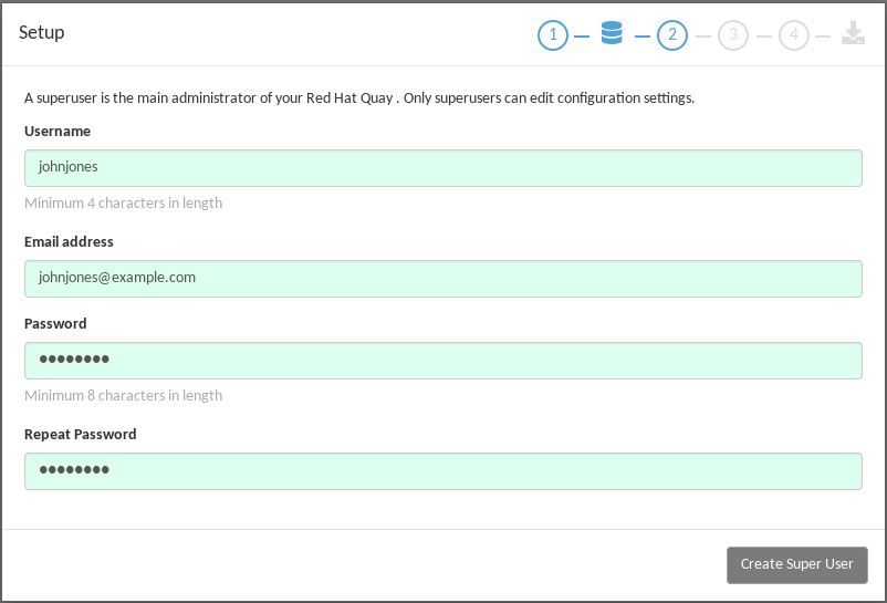 Set up a Project Quay superuser account to do Project Quay configuration