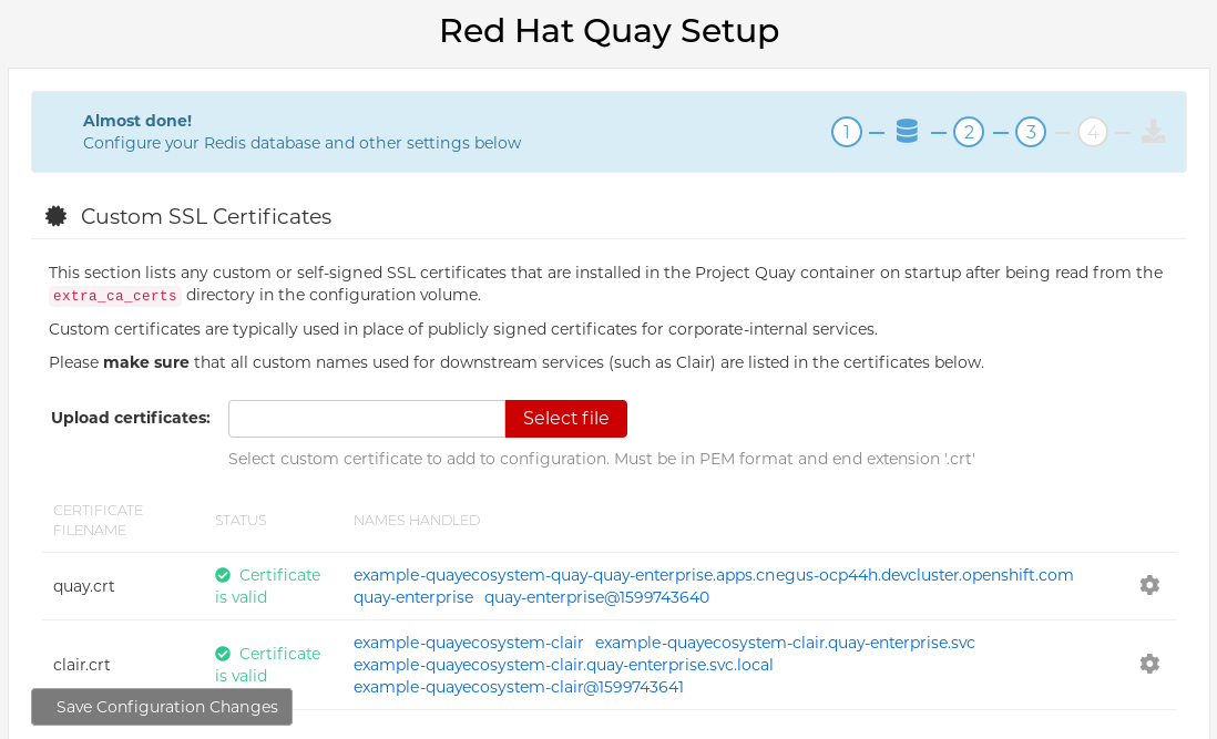 Modify Project Quay cluster settings from the Config Tool
